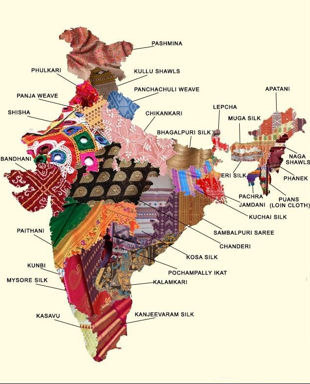 Fabric and embroidery map of India.