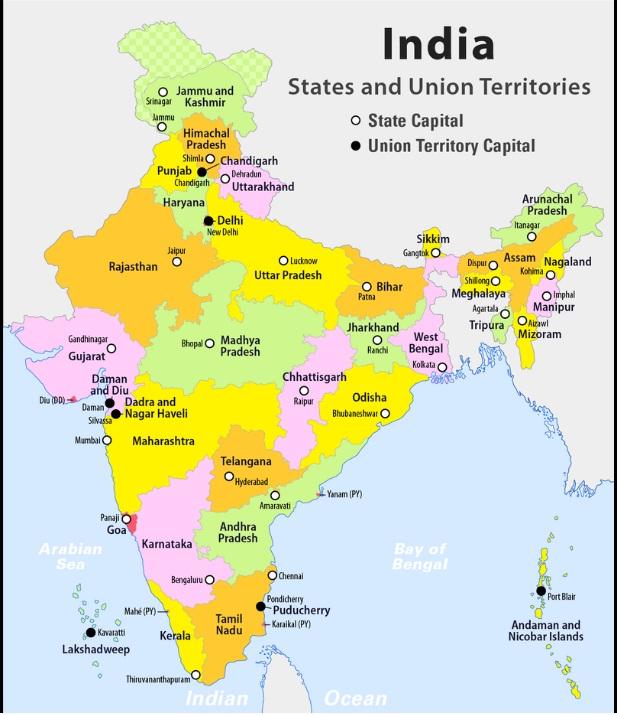 Bharat Ka naksha Rajya sahit
