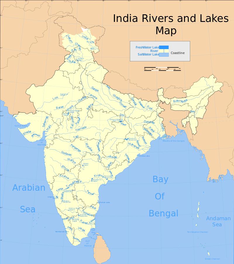 भारत की नदियों का मानचित्र