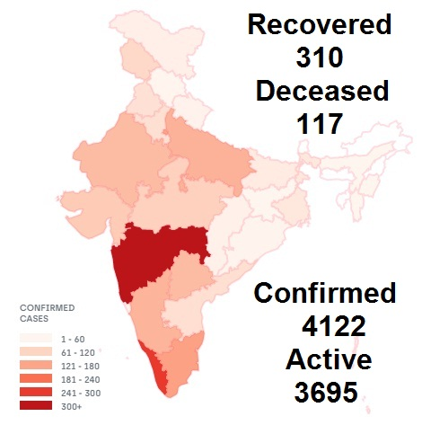 Corona virus Affected Indian States Map in April 2020